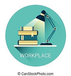 Student Arbeitsplatz Bücher Lampen Business Icon.