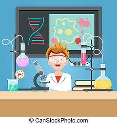 Student in der Chemie-Klasse.
