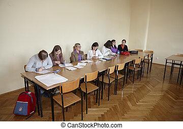 studenten, finale, polnisch, prüfung