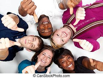 studenten, multi-rassisch, lächeln, hochschule, gesichter