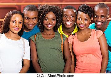 studenten, universität, afrikanischer amerikaner, junger