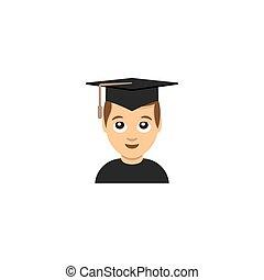 Studentenabschluss emoticon Illustration.
