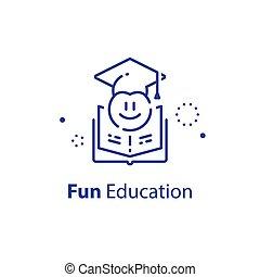 studienabschluss, vorbereitung, lernen, emoticon, spaß, vorschulisch, kappe, bildung, begriff