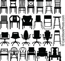 Stuhl, schwarze Silhouette