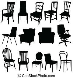 Stuhlkunstvektorin in schwarzer Farbe