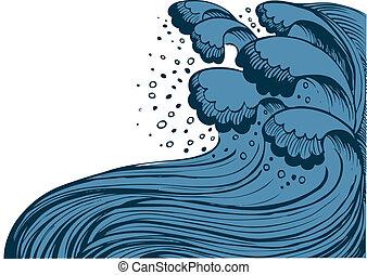 Sturm im blauen Meer. Vektor winkt im weißen Hintergrund