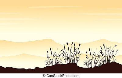 Style Landschaft Berg mit Gras Silhouetten.