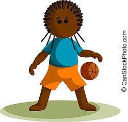 style., vektor, dunkelhäutig, junge, 10, bild, basketball., eps, karikatur