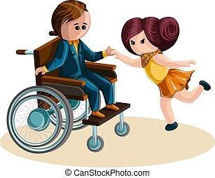 style., vektor, junge, 10, bild, m�dchen, wheelchair., tanzen, eps, karikatur