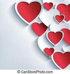 Stylish Valentinstag Hintergrund mit 3d roten und grauen Herzen