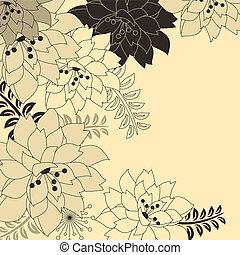 Stylisher Blumenbeige-Hintergrund mit Contour Blumen