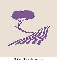 Stylisierte Abbildung zeigt die ländliche Landschaft der Provence.