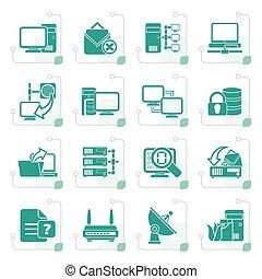 Stylisierte Computernetzwerke und Internet-Icons.