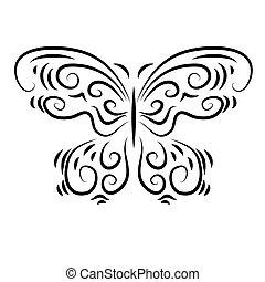 Stylisierte dekorative schöne Ornamente Schmetterling.