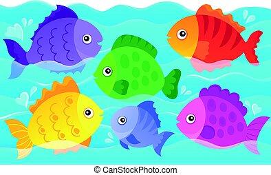 Stylisierte Fische Thema Bild 4.