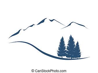 Stylisierte Illustration zeigt eine Alpenlandscape mit Bergen und Tannen