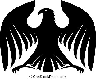 Stylisierte mächtige schwarze Adlersilhouette.