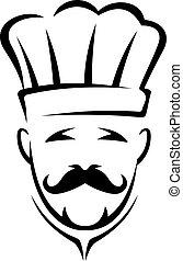 Stylisierte schwarze und weiße Koch Ikone.