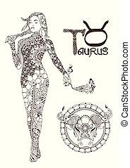 Stylisierte Sternzeichen von Taurus