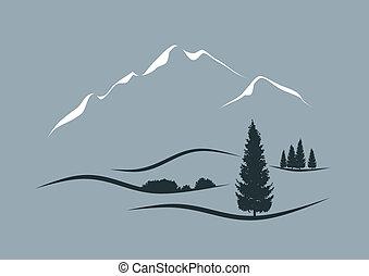 Stylisierte Vektorgrafik einer Alpenlandschaft.