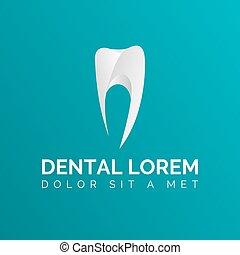 Stylisierte Zahn-Icon-Logo-Vorlage auf grünem Hintergrund. Zahnvektoren. Logo für Zahnklinik.