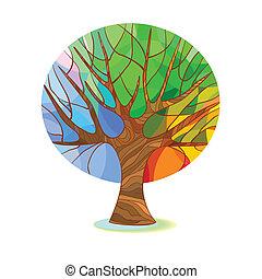 Stylisierter Baum - vier Jahreszeiten.
