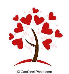 Stylisierter Liebesbaum aus Herzen