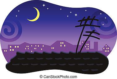 Stylisierter Nacht-City-Cape mit einem gebügelten Dach und dem Mond.