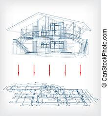 Stylisiertes Hausmodell mit Grundriss. Vector
