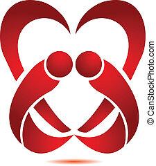 Stylisiertes Herz mit zwei Logos.