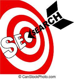 Suchmaschinenoptimierungspfeil trifft Zielobjekt