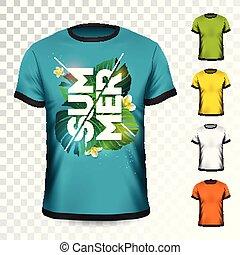 Summer Holiday T-Shirt Design mit tropischen Blättern und Blüte auf transparentem Hintergrund. Vector Design Vorlage für Kleidung mit einigen Farbvarianten.