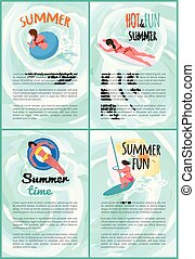 Summer hot and fun swimming people Plakate Set