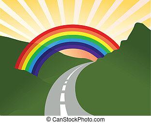 Sunny Landschaft mit Regenbogen