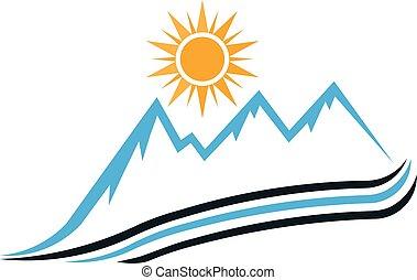 Sunny Mountain Way Logo. Vector Grafikdesign