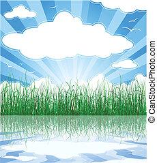 Sunny-Sommerhintergrund mit Gras, Wasser und Wolken