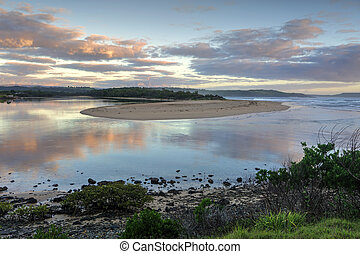 Sunrise minamurra River Ocean Eingang