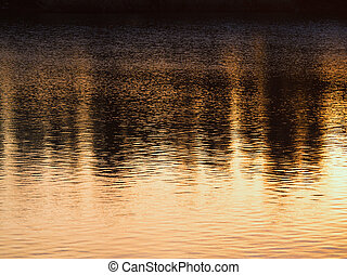 Sunset Reflexionen auf dem Fluss.