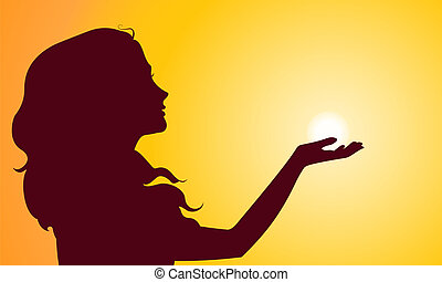 Sunset Silhouette der Frau.