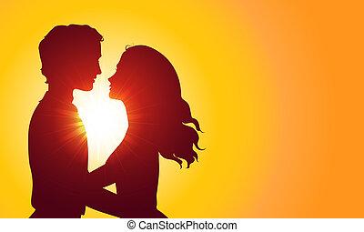 Sunset Silhouetten von Küssen