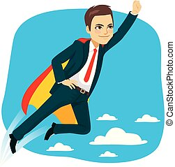 Super Business-Mann-Held fliegen.