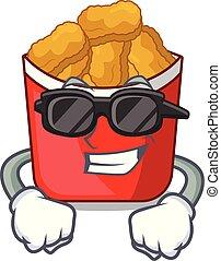 Super coole Chicken Nuggets auf oben Zeichentrickplatte.