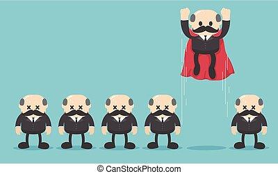 Super-Geschäftsführer vor seinen Leuten.