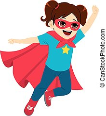 Superheld, kleines Mädchen fliegt.