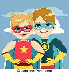 Superhelden Geschwister.