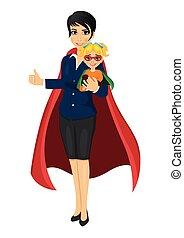 Superhelden-Mutter im Anzug, hält ihre Tochter mit den Händen und zeigt Daumen.