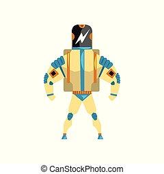 superhero, abbildung, cyborg, roboter, vektor, kostüm, hintergrund, weißes