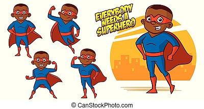 Superhero Charakter Superhelden setzen Vektorgrafikdesign.