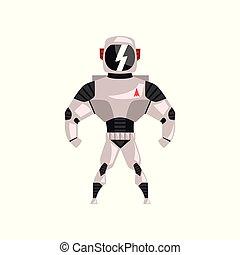 superhero, cyborg, roboter, abbildung, vektor, kostüm, hintergrund, weißes, raumanzug
