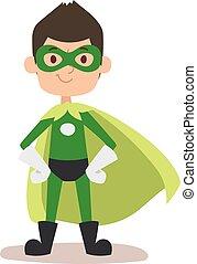 Superhero-Junge Zeichentrickfilm Vektorgrafik